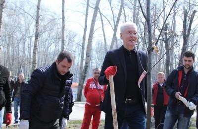 Мэр Москвы Сергей Собянин посетил общегородской субботник