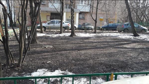 Городские службы убрали ветки из двора на Булатниковской